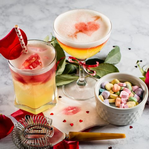 Valentines Day Amaretto Sour with a Kiss